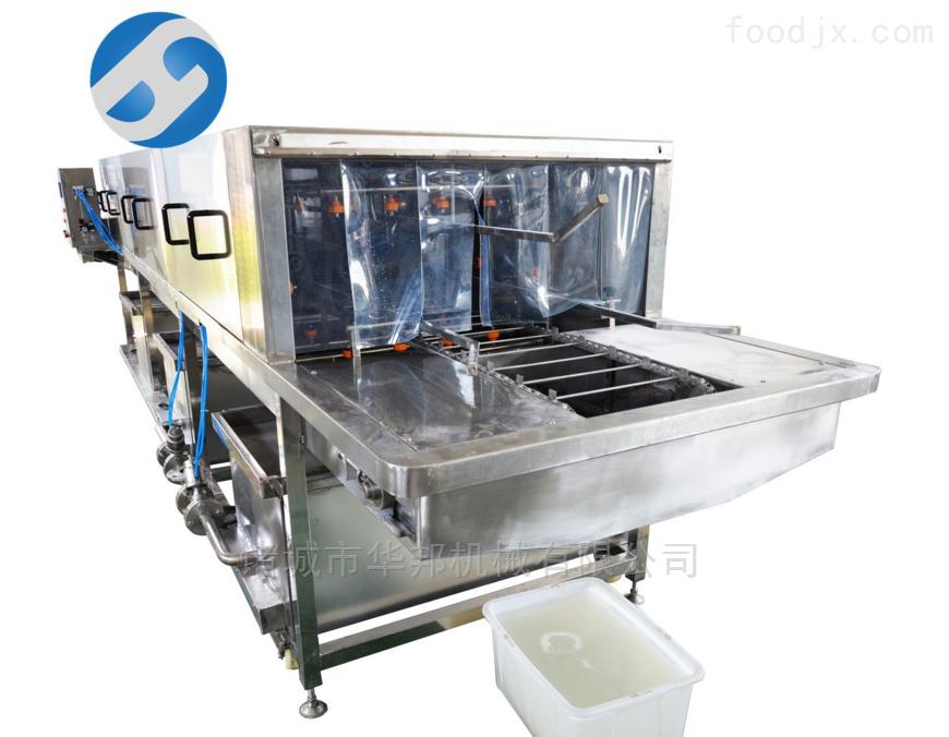 海产品洗筐机设备 多段清洗喷淋 可调宽窄